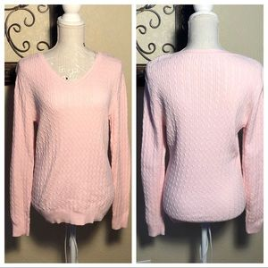 Studio Works Pink Cable Knit Sweater size Large